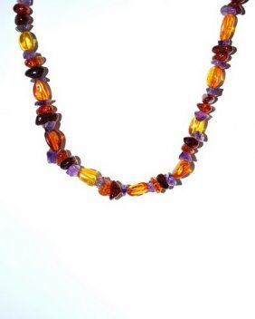 Necklace Made From Genuine Baltic And Amethyst Be