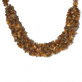 Wide Necklace From Many Pieces Of Genuine Baltic