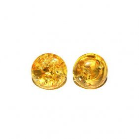 Round Citrine Color Stud Earrings Made From Genui