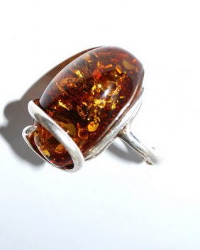 Massive Silver Ring With Baltic Amber