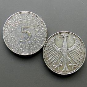 Made In 1951. 5 Mark Silver Coin From Germany - D