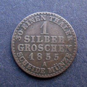 . 1 Silver Groschen Coin. Made In 1855. Made In G