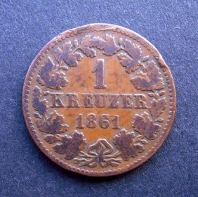 1 Kreuzer Coin. Made In 1861. Made In German Empi