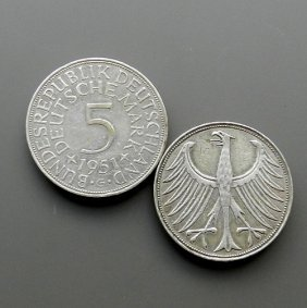 Made In 1951 5 Mark Silver Coin From Germany - Dd