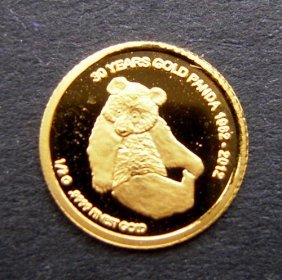 500 Kip Gold Coin With Image Of Panda. Mint Condi