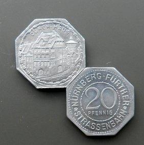 20 Pfennig Coin - Streetcar Money. Mint Condition