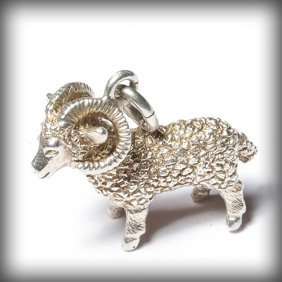 Beautiful Silver Pendant - Aries Sign Amulet From