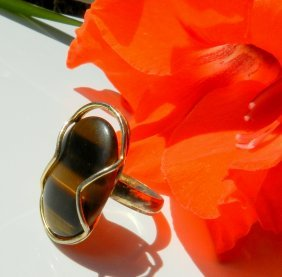 Gold Plated Ring Decorated With Tiger Eye Stone