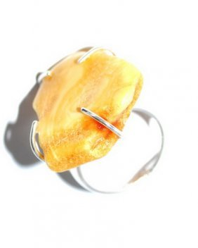 Silver Ring With Free From Butter Color Baltic Am
