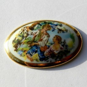 Vintage Limoges Porcelain Picture With Romantic I