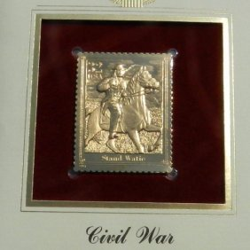 Gold Plated-14 Carat Post Stamp With Envelope - F