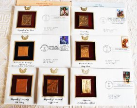 7 Envelopes With Gilded Post Stamp
