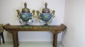 Pair Of Chinese Cloisonne Three Storks Urn