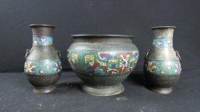 Set Of Three Cloisonne Pieces