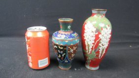 Pair Of Old Chinese Cloisonne Vases