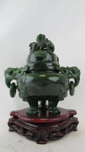Chinese Jadeite Covered Censer