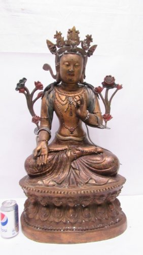 Chinese Bronze And Gold Gilt Buddha Deity Statue