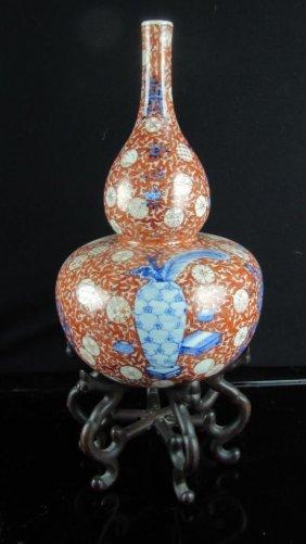 Large Chinese Glazed Gourd Shaped Vase