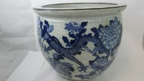 Chinese Late Qing Dynasty Blue And White Planter