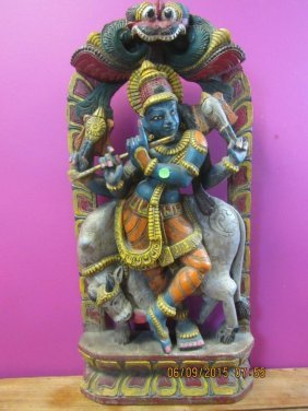 Indian God Ancient Painted Wood Carving