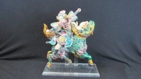 Chinese Warrior In Armor Riding A Dragon