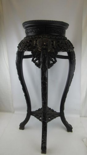 Carved Rosewood Plant Stand