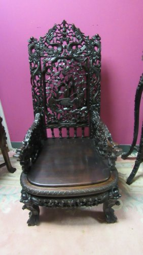 Chinese Intricately Carved Rosewood Chair