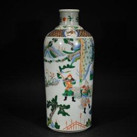 A Wucai Figural Vase
