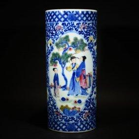 Qianlong Mark, Chinese Wucai Figural Vase