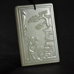 A Carved Hetian Jade Zi Gang Plaque