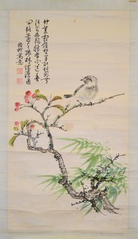A Chinese Painting Of Birds And Flower, 'xie Zhi Liu'