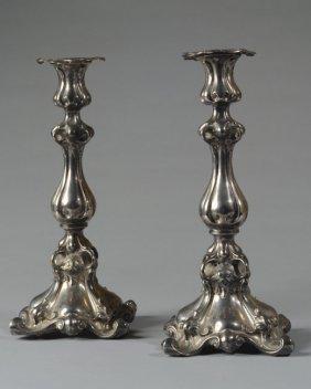 Pair Antique Silverplate Candlesticks