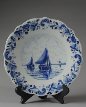 Vintage Delft Blue And White Plate