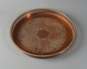 Antique Copper Galleried Tray