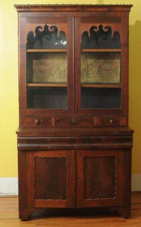 Mid 19th C. Empire Mahogany Secretary Bookcase
