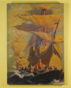 Early 20th C. Oil On Canvas Of A Spanish Galleon