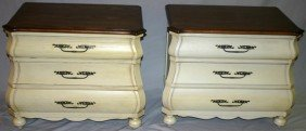FRENCH PROVINCIAL STYLE PAINTED NIGHT STANDS,