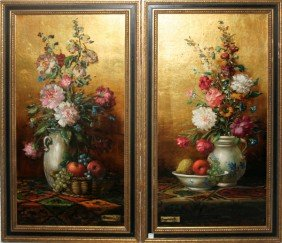 "P�L CSERGEZ�N OILS ON BOARD, PAIR, 1968, 32"" X"