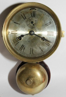 SETH THOMAS BRASS SHIP'S CLOCK, C. 1880, H 13""