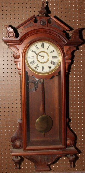 VICTORIAN MAHOGANY WALL CLOCK, C. 1860,
