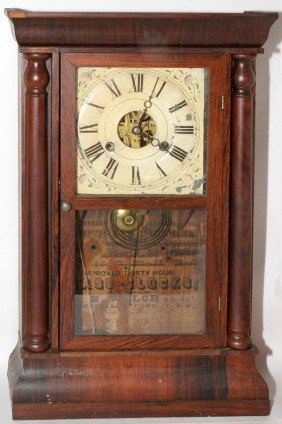 E.N. WELCH MFG. CO. MAHOGANY CLOCK, 19TH C