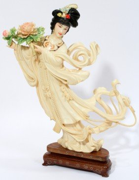 CHINESE CARVED IVORY FIGURINE, H 7""