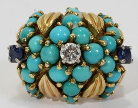 Y/GOLD RING WITH TURQUOISE STONES, DIAMOND