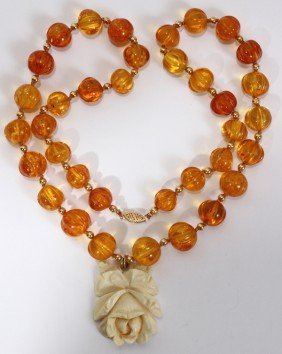 RUSSIAN GOOSEBERRY AMBER NECKLACE W/ PENDANT