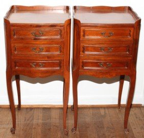 FRENCH STYLE WALNUT THREE DRAWER STANDS, C 1950