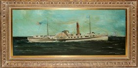 W. MC CLURE, OIL ON BOARD, PADDLEWHEELER