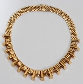 18KT GOLD REGENCY DECO NECKLACE