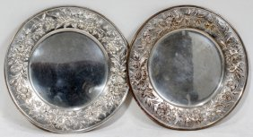 KIRK & SON REPOUSSE STERLING BREAD PLATES