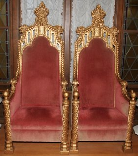 GILT GESSO & WOOD THRONE CHAIRS C. 1900