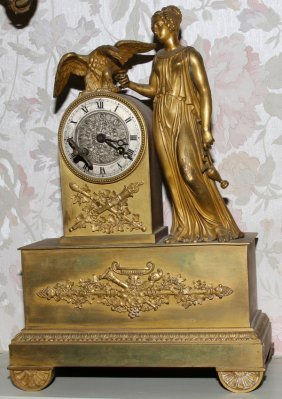 FRENCH GILT BRONZE FIGURAL CLOCK